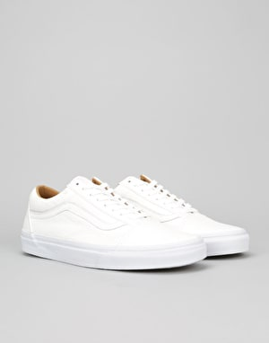 Vans Old Skool Skate Shoes - (Premium Leather) White