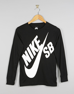 Nike SB Big Logo LS Boys T-Shirt - Black