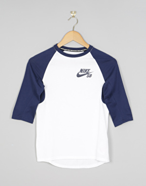 Nike SB Icon Boys 3/4 Sleeve T-Shirt - White/Binary Blue/Binary Blue