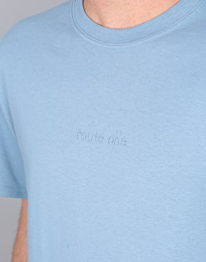 Route One Embroidered Logo T-Shirt - Stone Blue