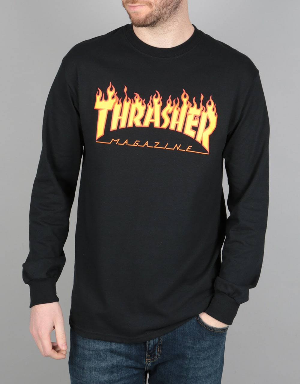 Black t shirt photo - Thrasher Flame Logo L S T Shirt Black