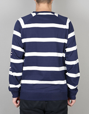 Stüssy Striped Raglan Crew Sweatshirt - Navy
