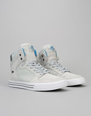 Supra Vaider Skate Shoes - Lt Grey/Brilliant Blue-White