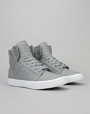 Supra Skytop Skate Shoes - Grey Fiberglass-White