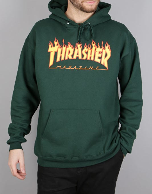 Thrasher Flame Logo Pullover Hoodie - Forest Green