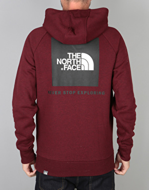 The North Face Raglan Red Box Pullover Hoodie - Cardinal Red/Heather