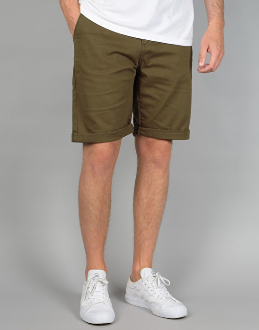Route One Roll Up Chino Shorts - Olive