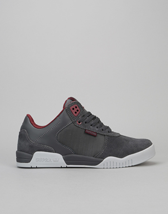 Supra Ellington Skate Shoes - Charcoal/Burgundy-Light Grey