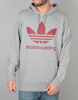 Adidas Clima 3.0 Pullover Hoodie - Core Heather/Mystery Red