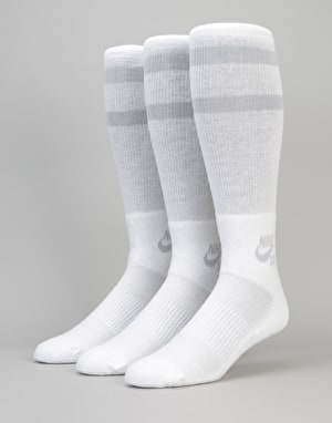 Nike SB Skateboarding Crew Socks 3 Pack - White/Wolf Grey