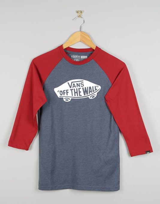 Vans OTW Raglan Boys T-Shirt - Heather Navy/Red Dahlia