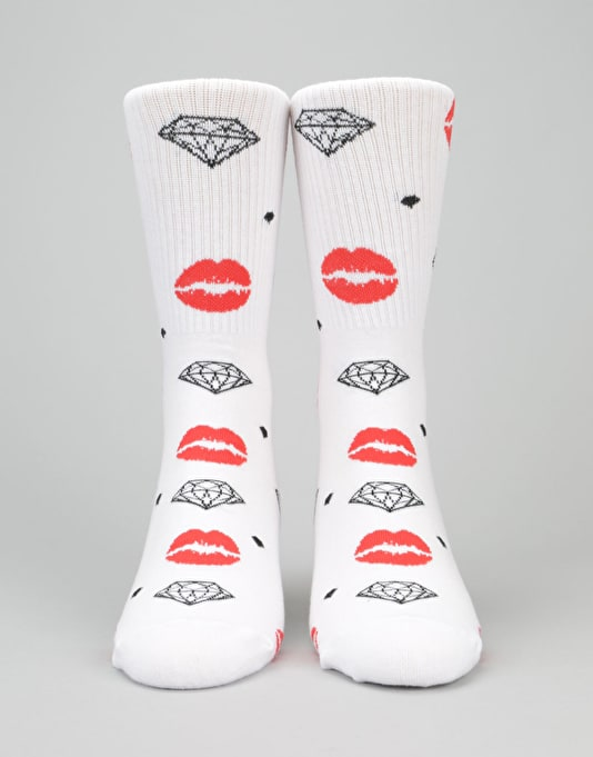 Diamond Supply Co. x Marilyn Monroe Lips Hi Socks - White