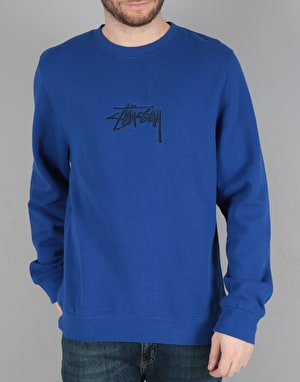 Stüssy New Stock Applique Crew Sweatshirt - Dark Blue