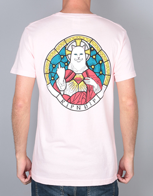 Ripndip stained glass t shirt pink backprint t shirts for Cheap t shirt printing next day delivery