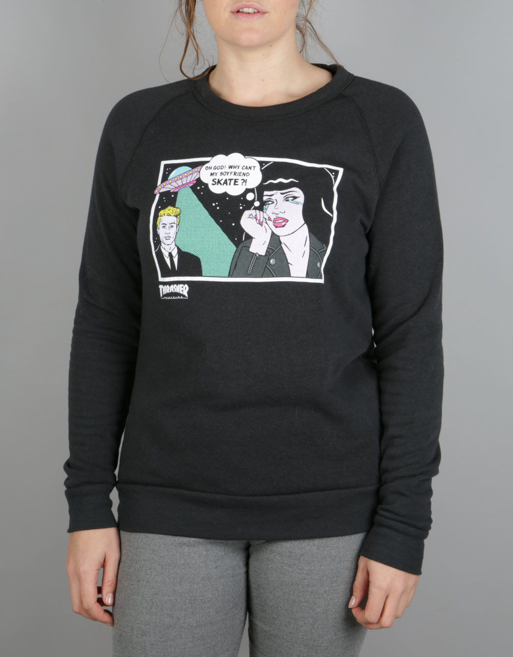 5af54a196 Thrasher Alien Boyfriend Crewneck Sweat - Black | Skate Sweatshirts | Mens  Skateboard Crewneck Sweats | Clothing | Route One