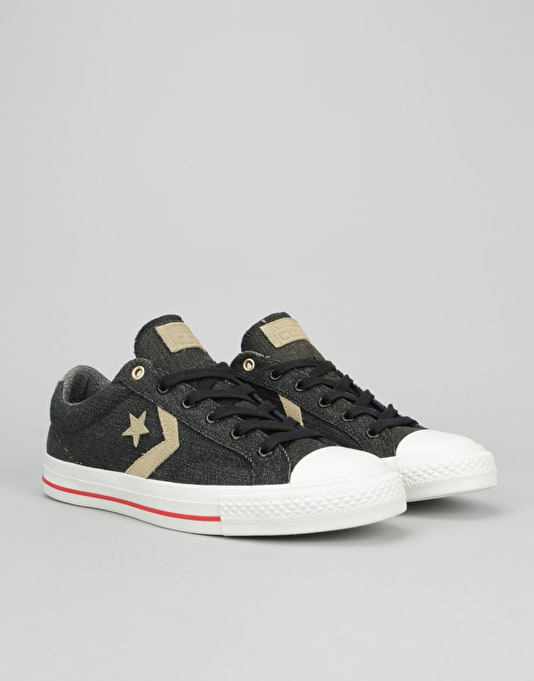 Converse Star Player Denim Skate Shoes - Black/Sandy/Vaporous Grey