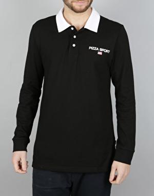 Pizza Sport L/S Polo Shirt - Black/White