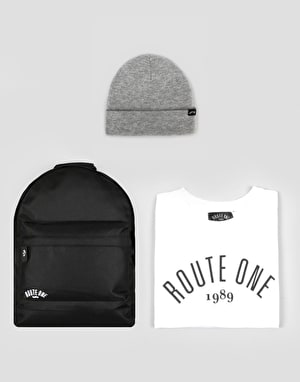 Route One Gift Pack - T-Shirt + Backpack + Beanie