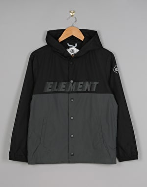 Element Hooded Boys Coach Jacket - Flint Black