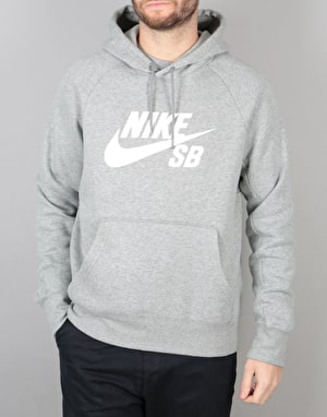 Nike SB Icon Pullover Hoodie - DK Grey Heather/White