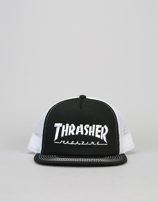 Thrasher Embroidered Logo Mesh Cap - Black/White