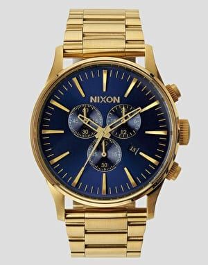 Nixon Sentry Chrono Watch - Gold/Blue Sunray