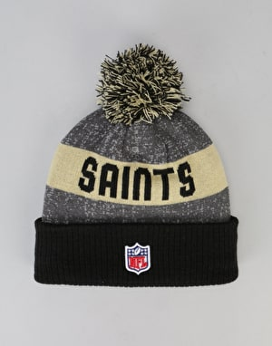 New Era NFL New Orleans Saints Sideline Bobble Beanie - Grey/Black