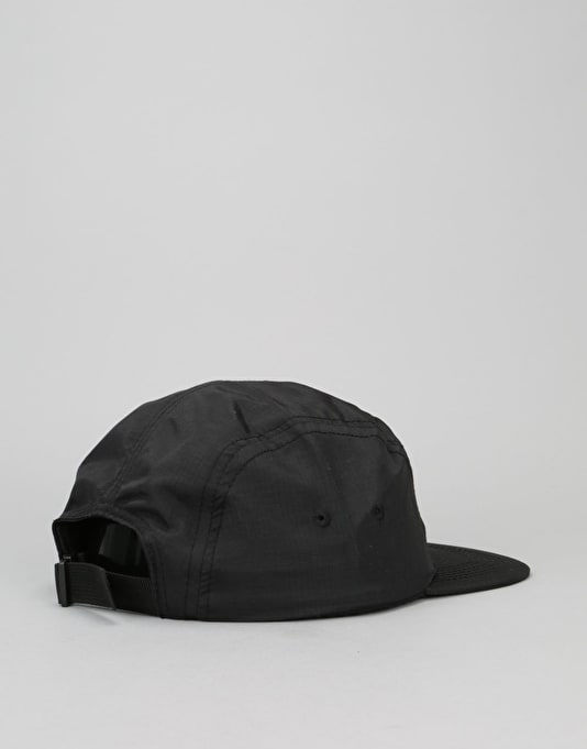 Thrasher Flame Logo Ripstop Nylon 5 Panel Cap - Black