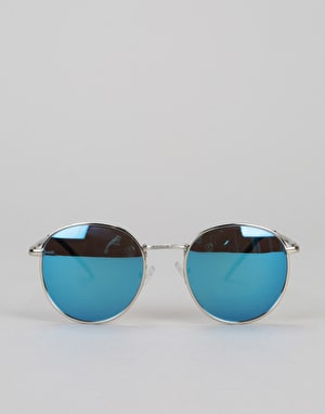 Glassy Sunhaters Carlos Sunglasses - Silver/Polarized Teal Mirror