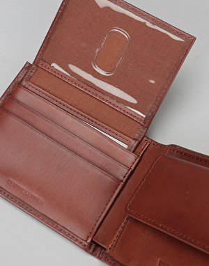 Levis Inlay Bi-Fold Clean Finish Leather Wallet - Brown