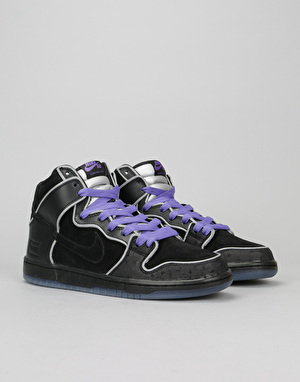 Nike SB Dunk High Premium Skate Shoes - Black/Black Wht-Purple Haze