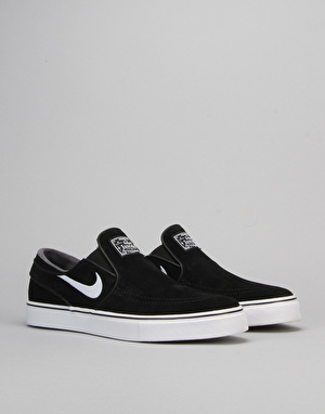 Nike SB Stefan Janoski Slip On Skate Shoes - Black/White