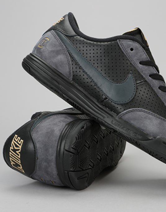 Nike SB x FTC Lunar FC QS Skate Shoes - Black/Anthracite-Metallic Gold