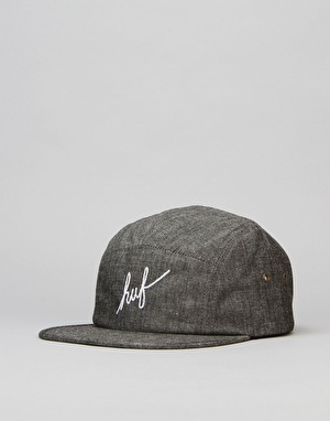 HUF Crosshatch Chambray Script Volley 5 Panel Cap - Black