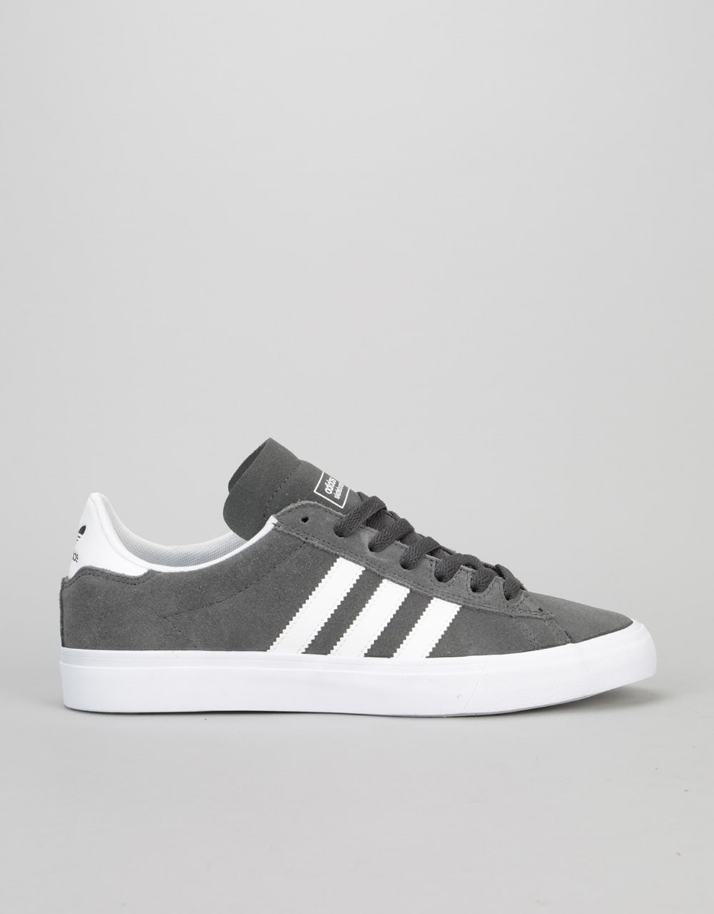 new arrival 2be70 34dd6 Adidas Campus Vulc II ADV Skate Shoe - Solid GreyWhiteWhite  Skate Shoes   Mens Skateboarding Trainers  Footwear  Route One