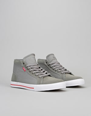 State Salem Mid Skate Shoes - Grey/White/ Red Suede/Canvas