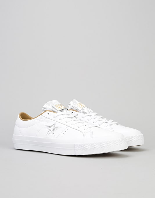 Converse One Star Skate Shoes - White/Sand Dune/White