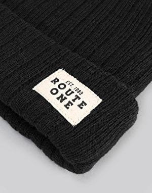 Route One Ribbed Fisherman Beanie - Black