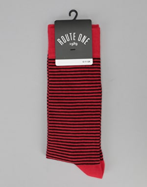 Route One Thin Stripe Socks - Red/Grey