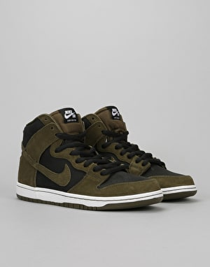 Nike SB Dunk High Premium SB Skate Shoes - Dark Loden/Black/White