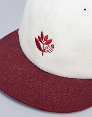 Magenta Wool Brode 6 Panel Cap - Cream/Red