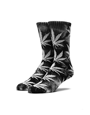 HUF Tie Dye Plantlife Crew Socks - Black/White