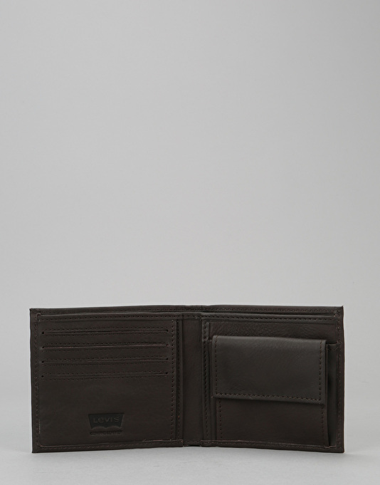 Levis Vintage Two Horse Bi-Fold Leather Coin Wallet - Dark Brown