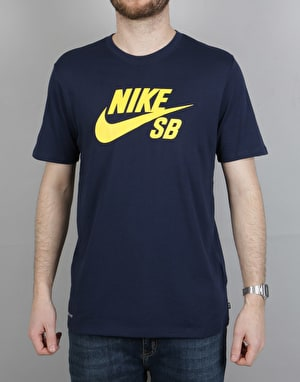 Nike SB Logo T-Shirt - Obsidian/Tour Yellow