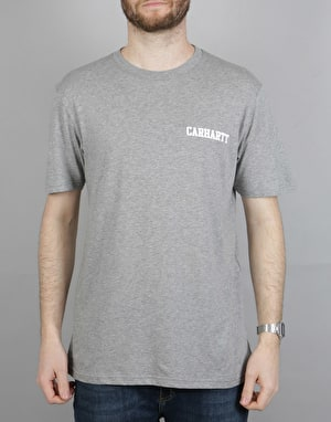 Carhartt S/S College Script LT T-Shirt - Ash Heather/Chili