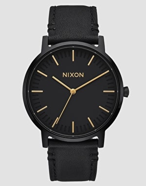 Nixon Porter Leather Watch - All Black/Gold