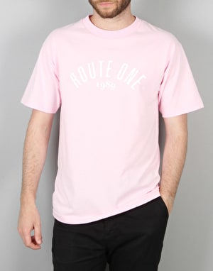 Route One Logo T-Shirt - Light Pink