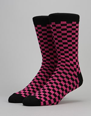 Route One Checker Socks - Black/Pink