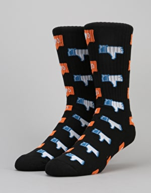 HUF No Friends Crew Socks - Black