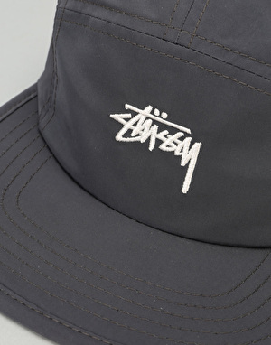 Stüssy Nylon Poly Stock Logo Camp 5 Panel Cap - Black